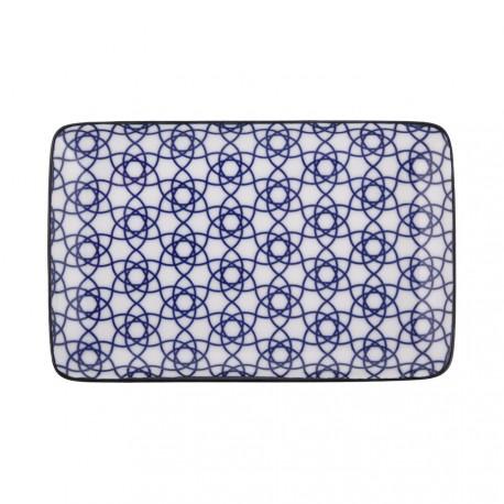 Piatto diam 26 cm decoro Crisantemo blu, serie Shiki di Tokio Design Studio