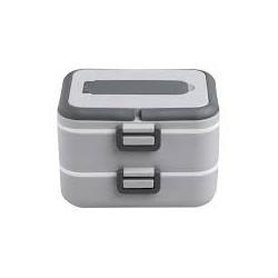BRANDANI LUNCH BOX ERMETICO DOUBLE C/CONTENITORE ESTRAIBILE C/FORCH-CUCCH GRIGIO